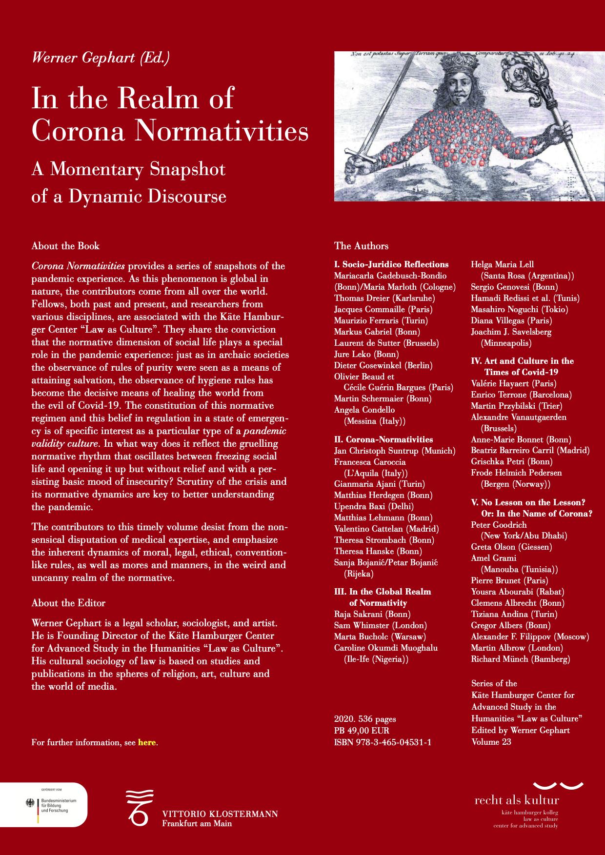 Flyer_Corona Normativities_Volume 23 (ed. by W. Gephart)